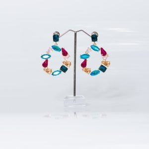 Pendiente circular con cristales de colores para invitada