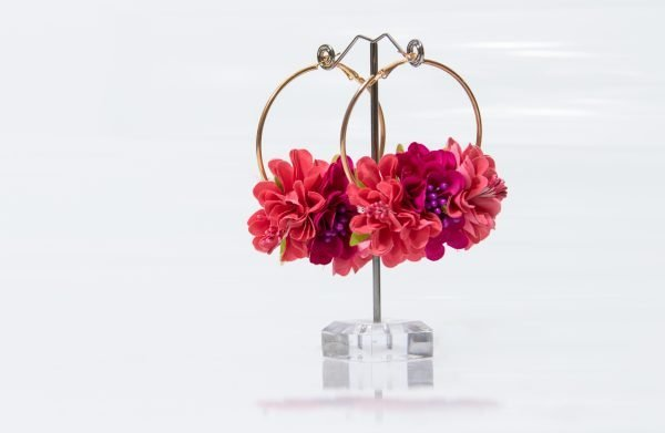 Pendiente floral para flamenca
