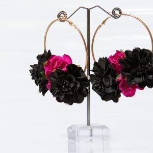 Pendiente floral en fucsia y negro para flamenca