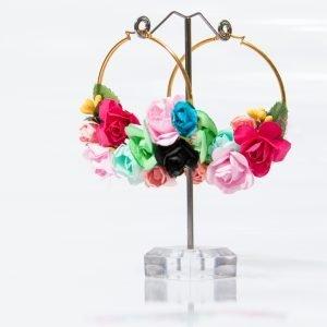 Pendiente floral multicolor para flamenca