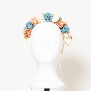 Diadema de comunión con flores de colores