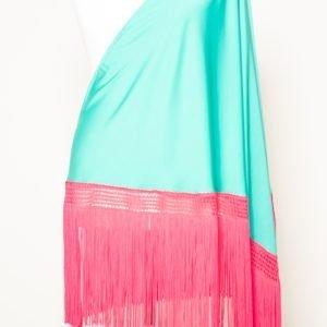 Mantón turquesa y fucsia para flamenca
